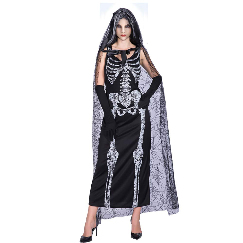 SehrGo Falda Esqueleto Vestido de Fiesta de Halloween Disfraz de Longitud: Amazon.es: Ropa y accesorios