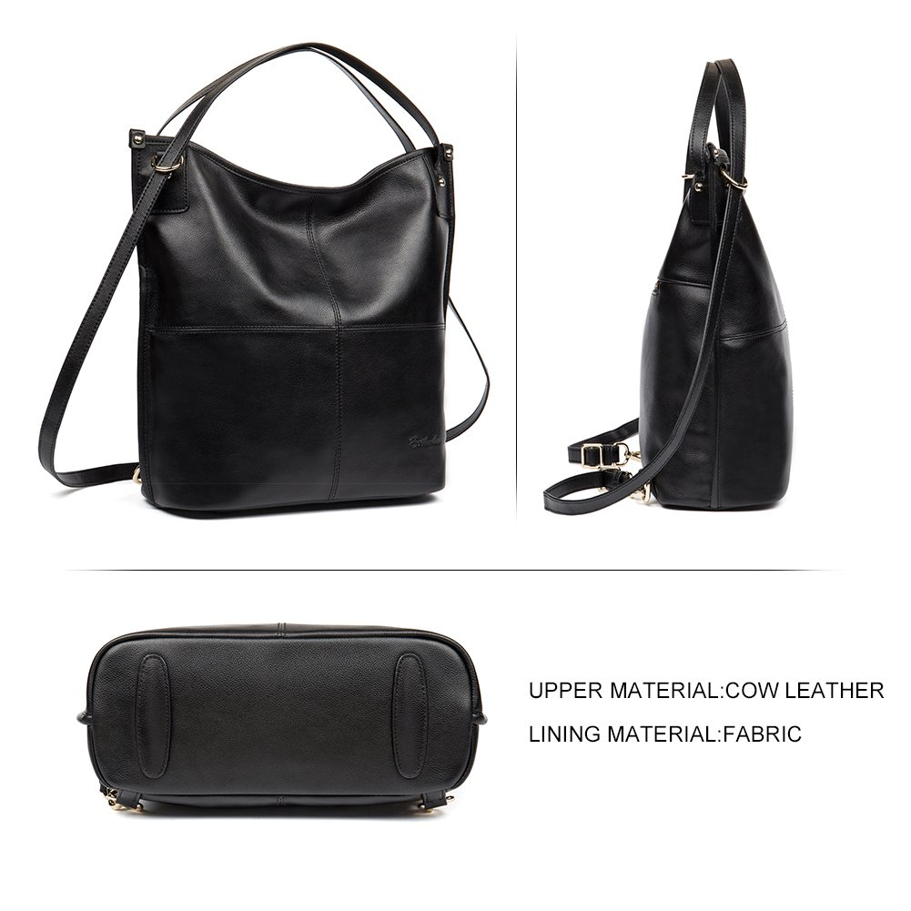 Mother's Day Gifts BOSTANTEN Women Leather Hobo Handbags Tote Purse Top-handle Shoulder Bag on Sale Black by BOSTANTEN (Image #3)