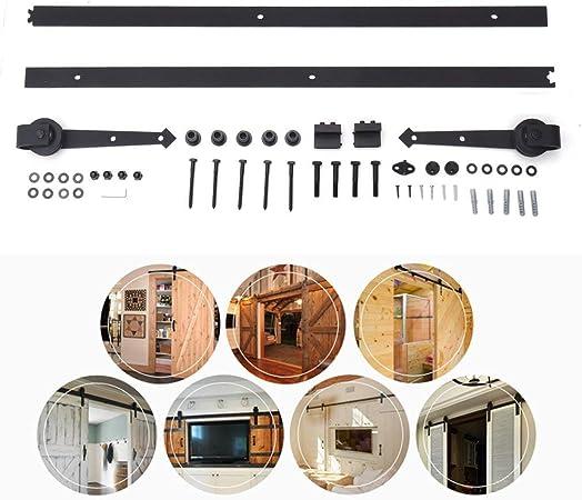Homgrace 6FT Kit de Rail pour Porte Coulissante Portes Int/érieures Coulissantes Cloisons Grange Armoire Hardware en Acier Inoxy style 3