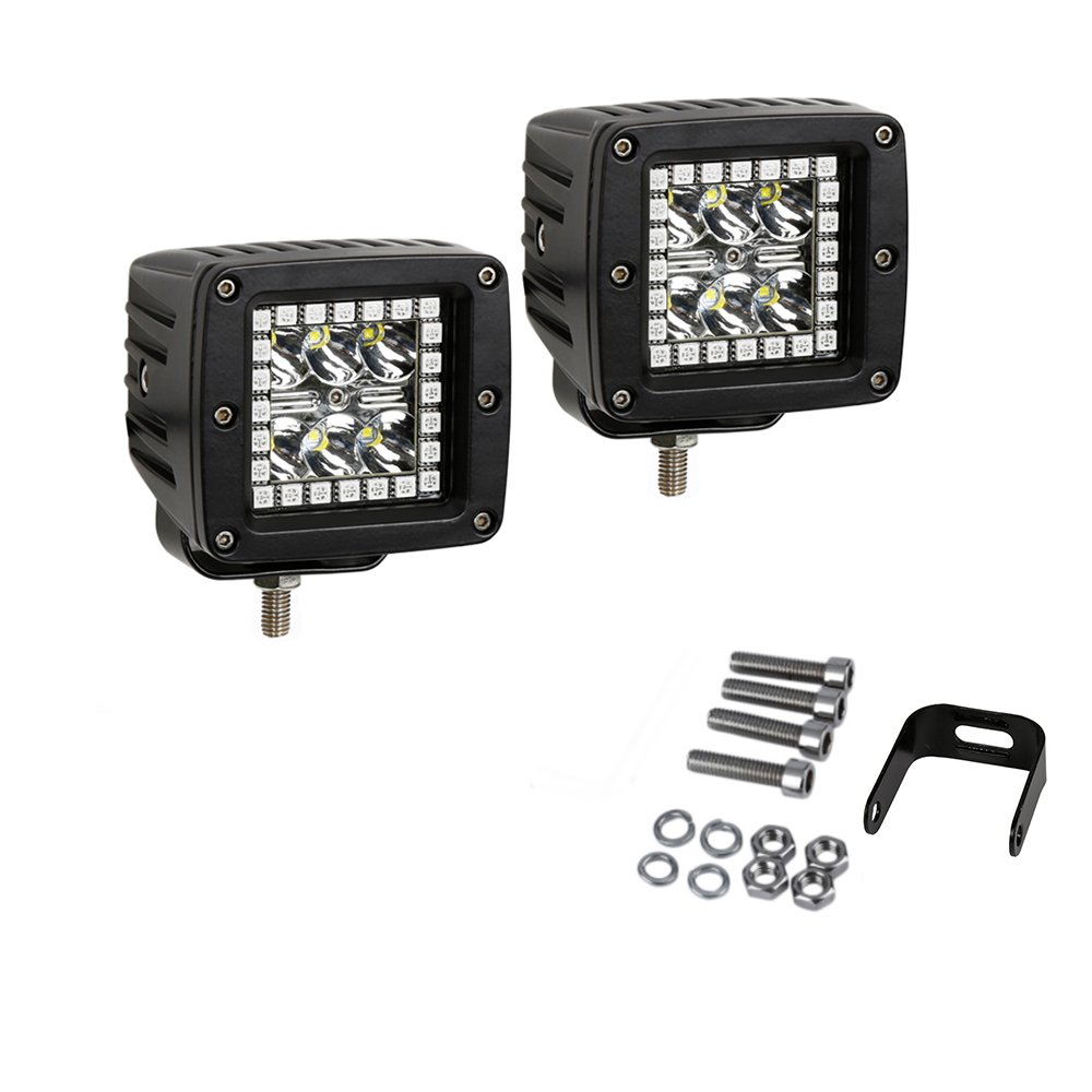 Pack 2 Nicoko 3 18w Led Work Light Bar Square Pods With The Tricolor Leds Can Be Mounted In Three Ways Through Rgb Chasing Halo 10 Solid Colors Over 72 Flashing Modes Driving Lights Fog Lamp