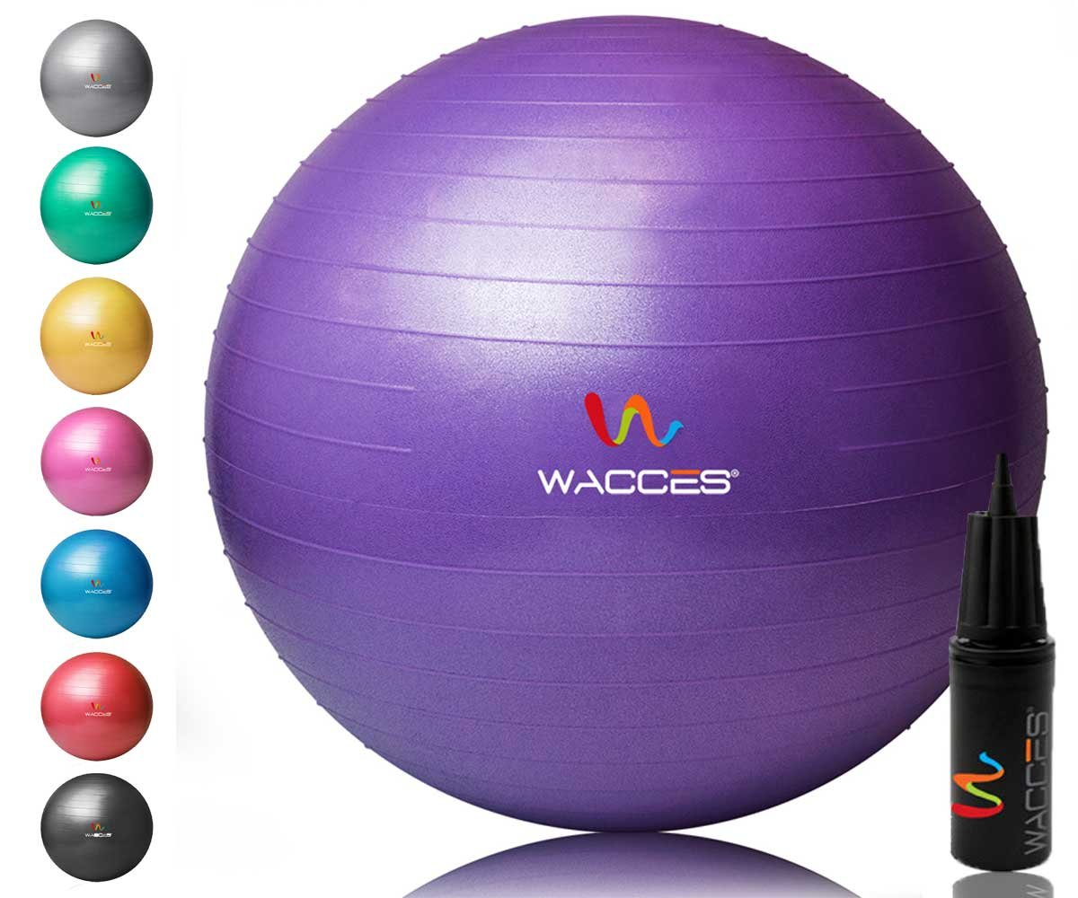 Wacces 52M6 Yoga Ball with Hand Pump Purple, 65 cm