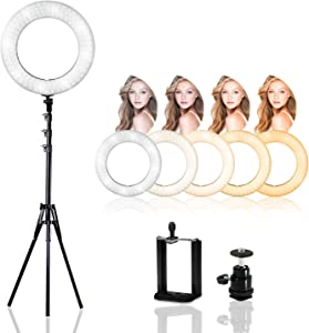 LimoStudio 14 inch Diameter Dimmable Continuous Round Ring Light, for Beauty Facial Shoot, Light Stand Tripod, Cell Phone Spring Clip Holder, Camera Adapter, Photo Studio, AGG2418V3