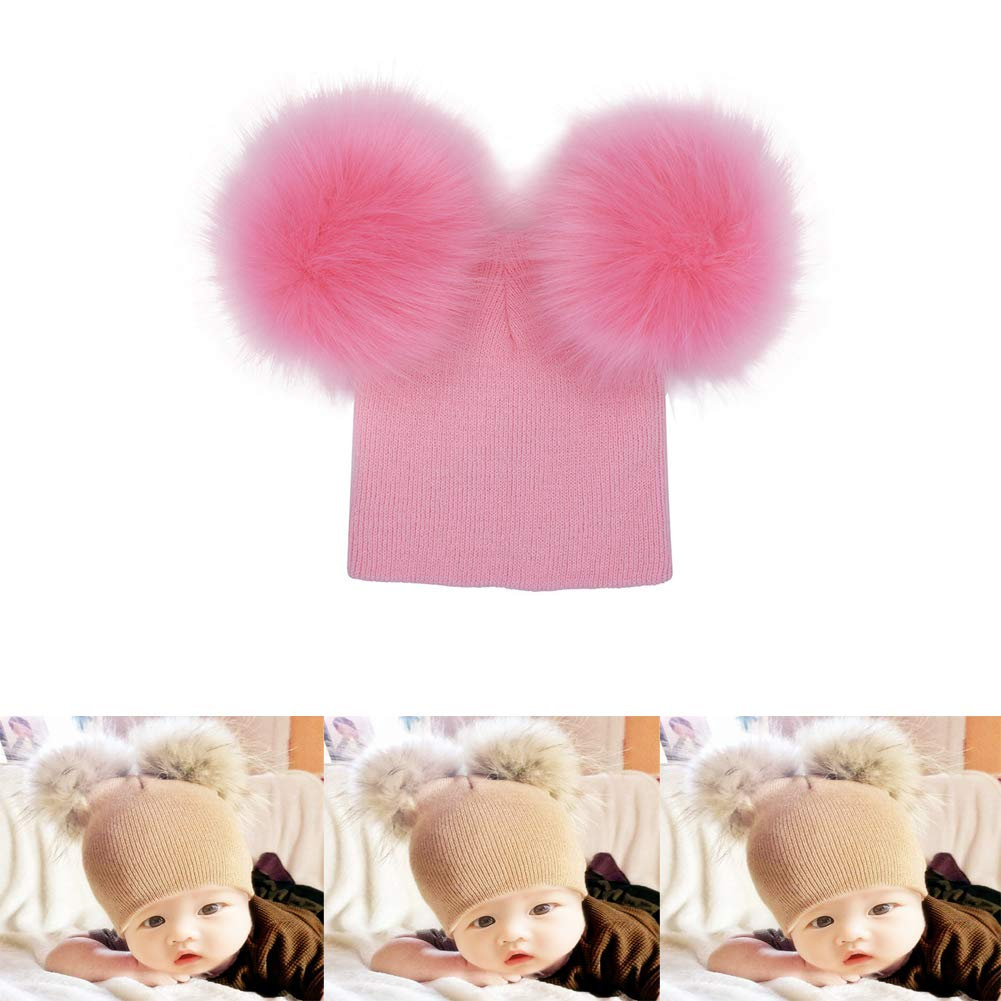 Baby Hats 6-12 Months Boy Girl Winter Hat with Pom Kids Flexible Cotton Pompom Beanie 12-18 Months