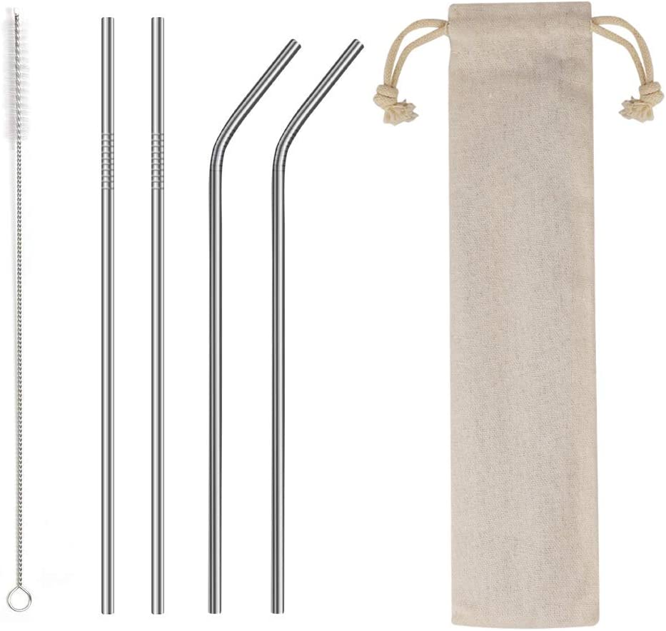 "4PCS Reusable Metal Straws,8.5"" Stainless Steel Straws with Case -Cleaning Brush for 20/30 Oz for Yeti Tumblers (Silver)"
