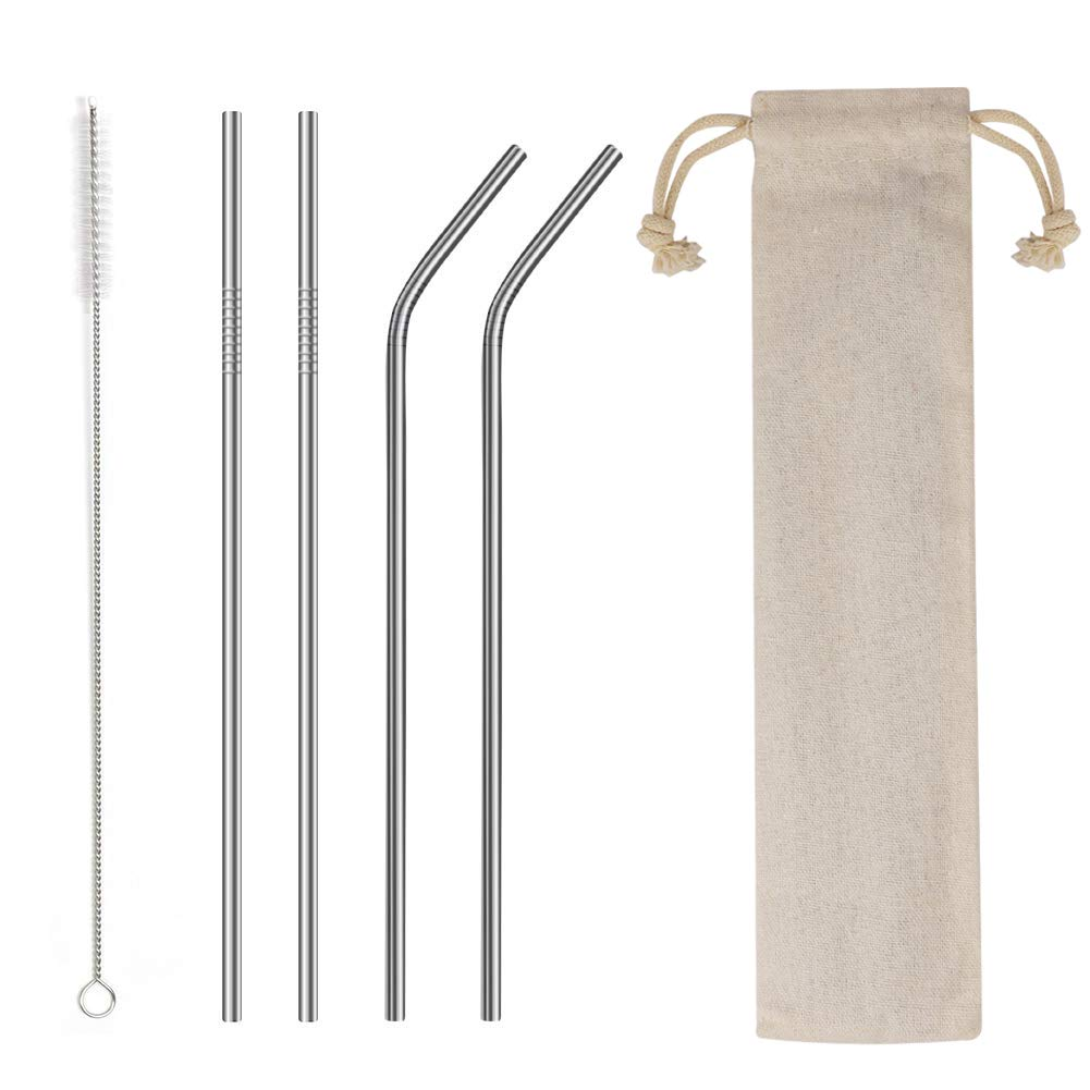 """4PCS Reusable Metal Straws,8.5"""" Stainless Steel Straws -Cleaning Brush for 20/30 Oz for Yeti Tumblers (Silver)"""