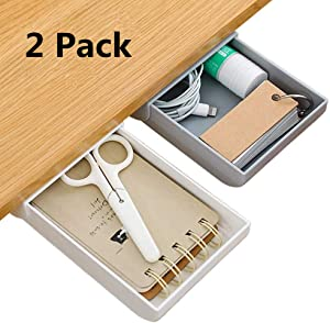 Under Desk Drawer, Under Desk Storage Organizer Pencil Tray Self-Adhesive Pop-Up Hidden Desktop Organizer Expandable Drawer Tray for Office School Home Desk White & Grey (2-Pack)
