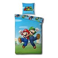 Ayma Super Mario Nintendo Ropa de Cama 140x200 + 63x63 cm Funda Nordica