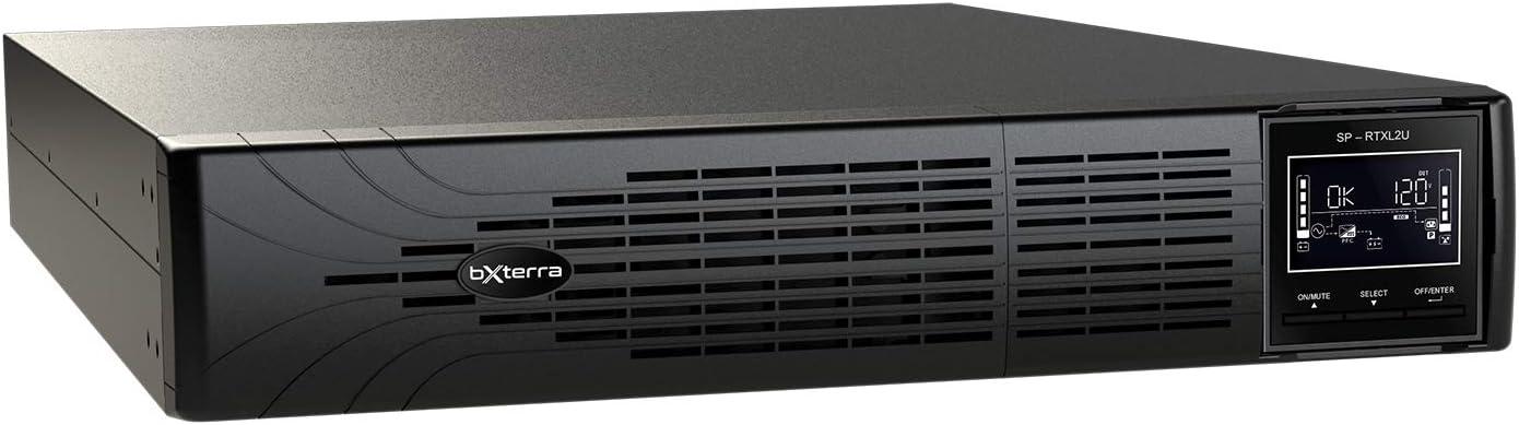 bXterra 3000VA UPS SP3000LCDRTXL2U Smart Sine Wave UPS Battery Backup, Extended Runtime, Enhanced LCD, 7 Outlets, AVR, SNMP, RJ11/RJ45, EPO, Energy Star, 2U Rack/Tower