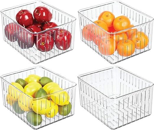 Caja de pl/ástico para el frigor/ífico frutas y otros alimentos Organizador de nevera para guardar l/ácteos transparente//azul mDesign Juego de 2 cestas organizadoras para la cocina
