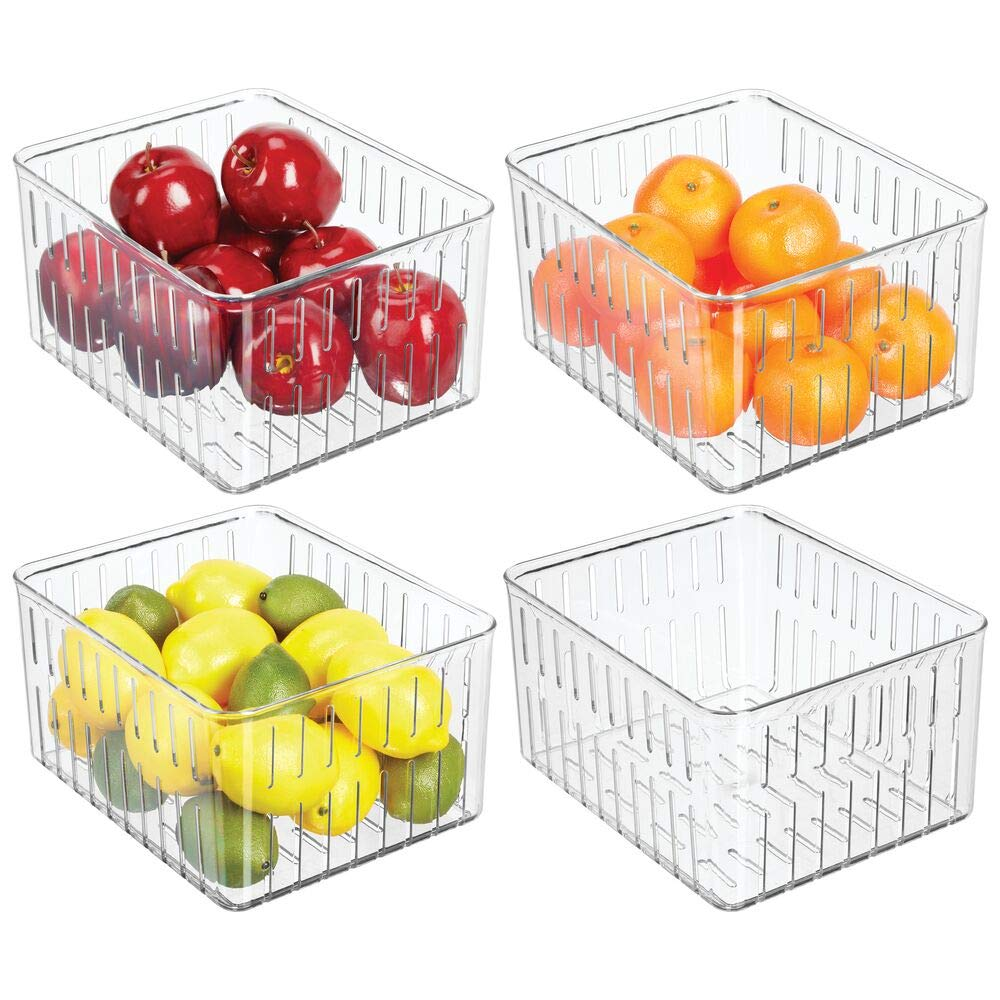 mDesign Plastic Kitchen Refrigerator Produce Storage Organizer Bin with Open Vents for Air Circulation - Food Container for Fruit, Vegetables, Lettuce, Cheese, Fresh Herbs, Snacks - XL, 4 Pack - Clear