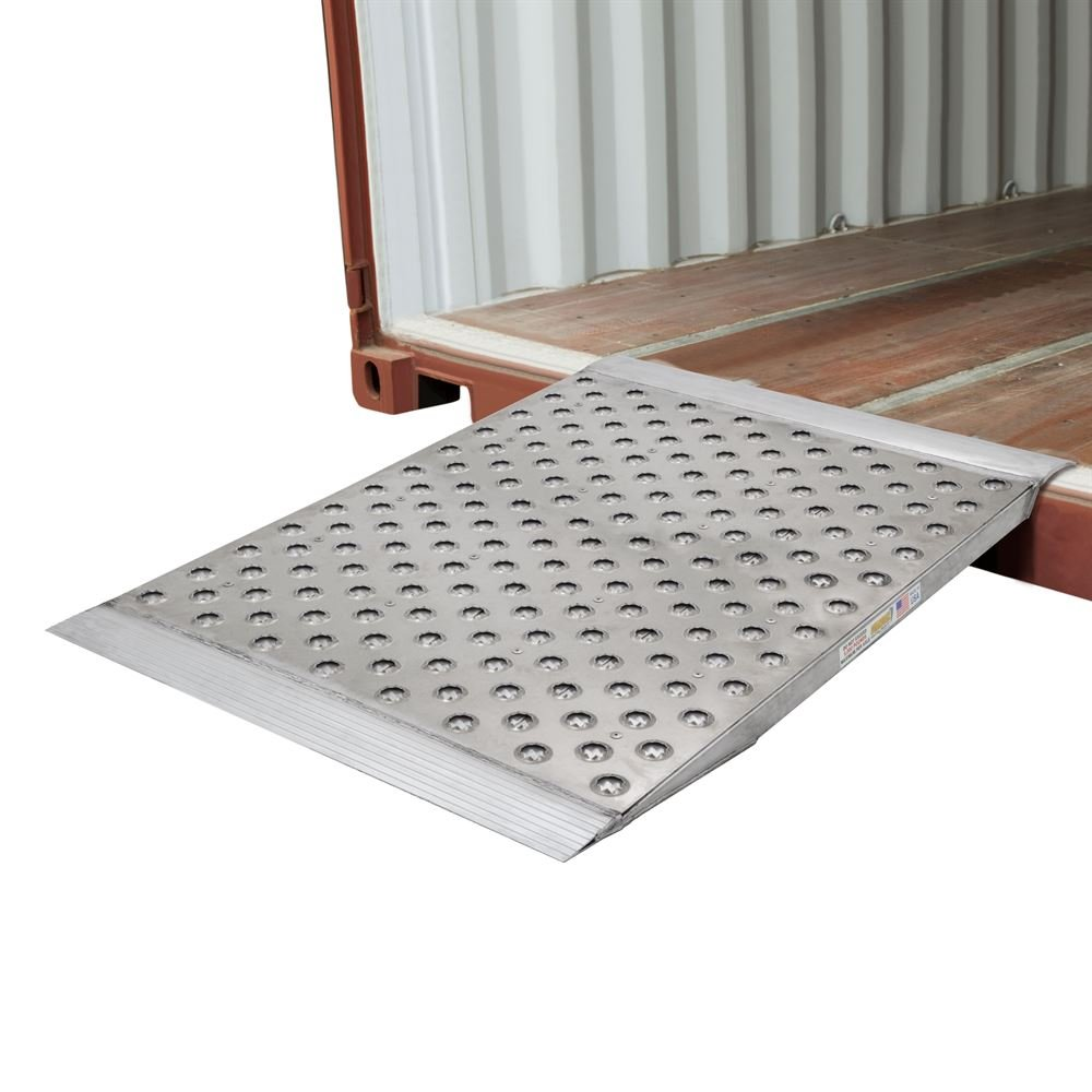 Guardian Aluminum Punch Plate Surface Shipping Container Ramp - 48''L x 36''W