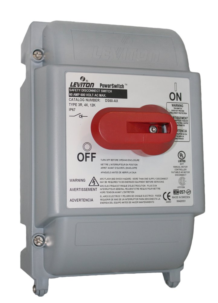 Leviton DS60-AX 60 Amp, 600 Volt, Non-Fused Safety Disconnect Switch, 3 Pole, Watertight, Gray