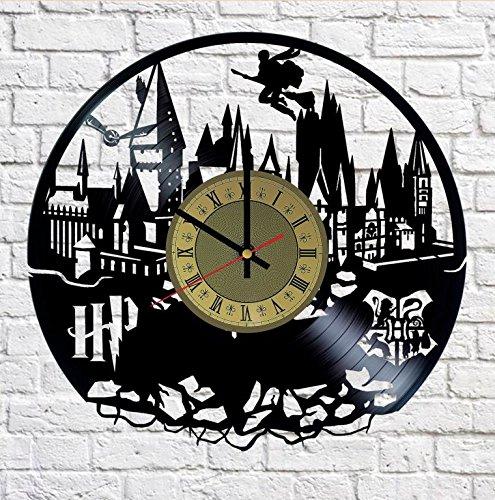 Hogwarts School Harry Potter Vinyl Wall Clock - Handmade Artwork Home Bedroom Living Kids Room Nursery Wall Decor Great Gifts idea for Birthday, Wedding, Anniversary - Customize Your (Gold/Black)