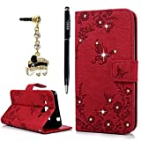 Galaxy J3 Case, Galaxy Express Prime Case, Amp Prime Case, YOKIRIN Luxury 3D Handmade Bling Crystal Rhinestone Embossed Butterfly PU Leather Flip Stand Credit Card ID Holders Wallet Cover - Red