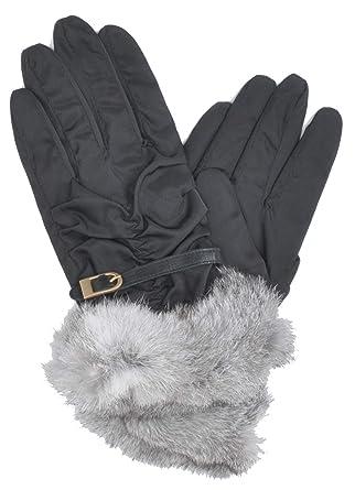 a873b2e02cfae5 Amazon   ラビットファーグローブ ベルトグローブ 女性 手袋 カジュアル おしゃれ シャーリング ふわふわ (ブラック)   手袋 通販