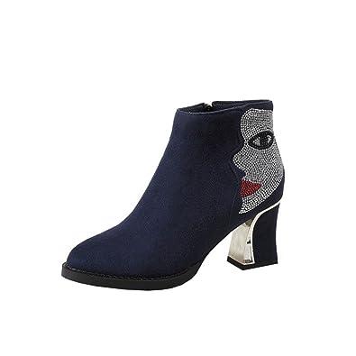816fb5253acd07 Freies Verschiffen Manchester Großer Verkauf Damen Stiefeletten High Heels  Blockabsatz Plateau Ankle Boots mit Fell und