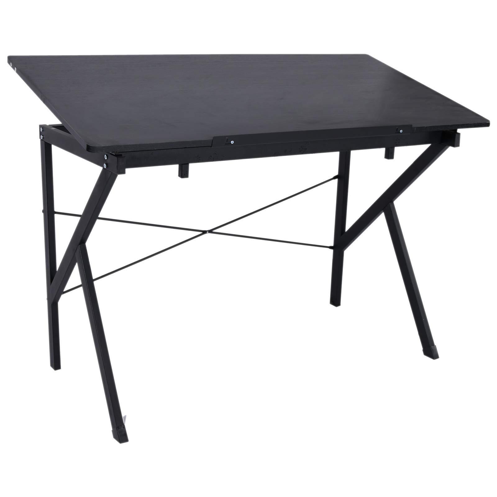 HOMCOM Wood Adjustable Folding Tilt-Top Art Drawing Drafting Table - Black