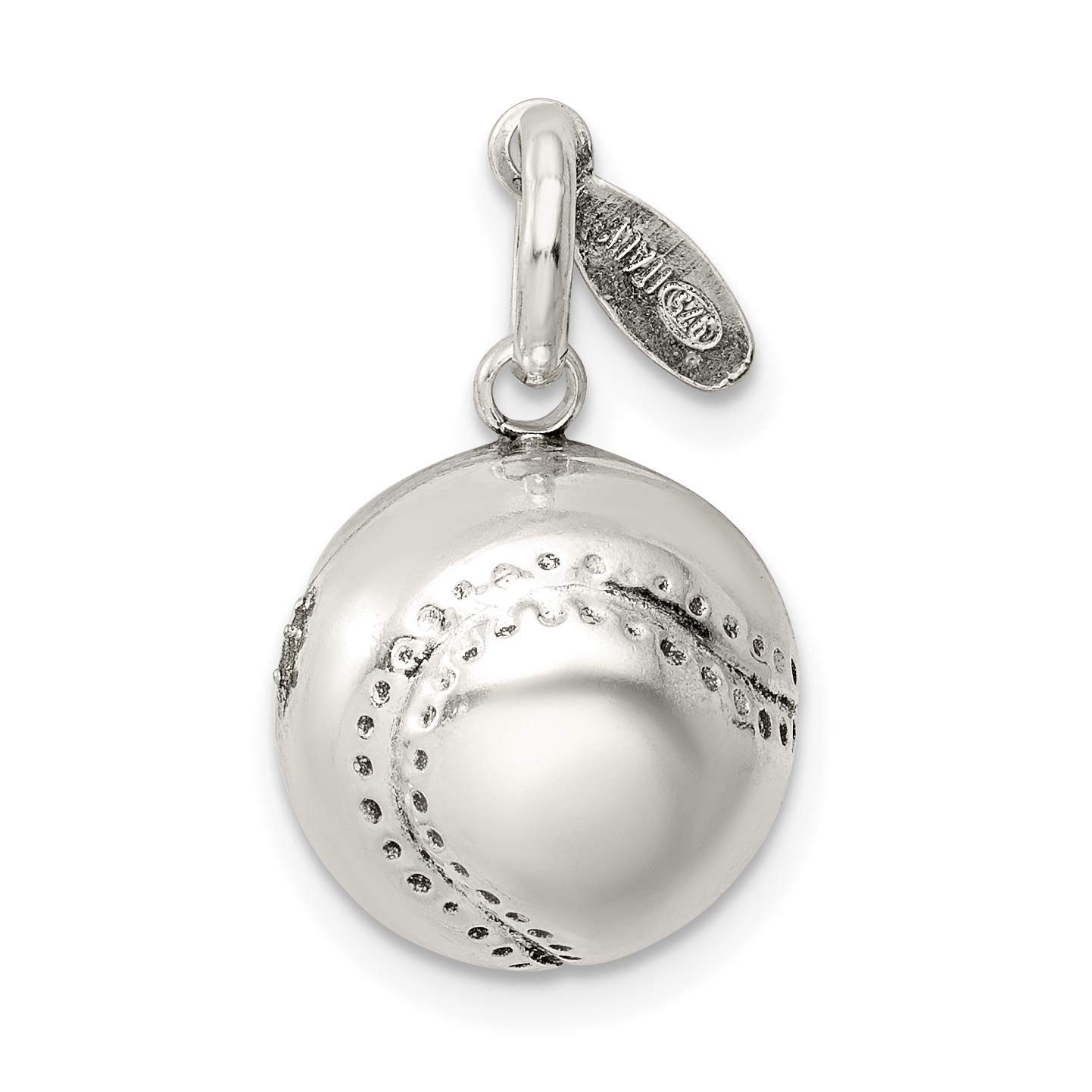 Baseball Charm In Polished 925 Sterling Silver 15x13mm