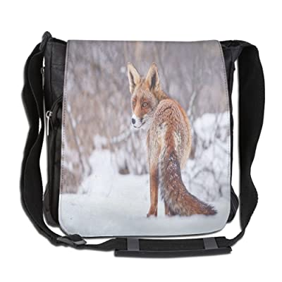 Lovebbag Countryside Snow Landscape Furry Wild Animal Hunting Vulpine Cold Winter Print Decorative Crossbody Messenger Bag