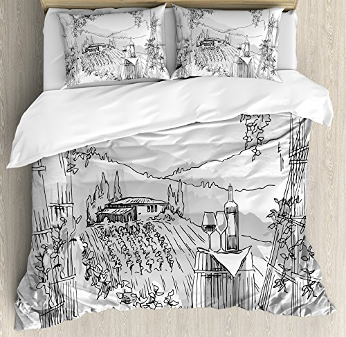 Sketchy Duvet Cover Set Queen Size by Ambesonne, Aerial View of Valley with House and Winery Elements Italian Mediterranean Art, Decorative 3 Piece Bedding Set with 2 Pillow Shams, Pale Grey Black
