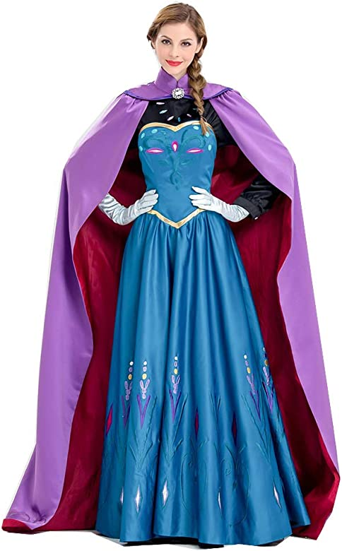 Disfraces de Halloween para Mujer Ceremonia para Adultos de Aisha Elsa Ice Frozen Anna Princesa Anna (Incluye Vestido, Capa, Guantes, Top Negro)