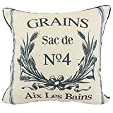 JuniperLab Vintage Farmhouse Grain Sack Cushion Covers French Country Perfume Label Primitive Throw Pillow Cases 16'' Rustic Grains