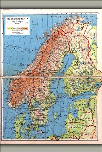 Poster - Map of Scandinavia Norway Sweden Finland Denmark