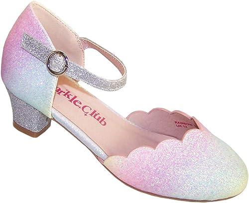 Zapatos de fiesta de tacón bajo con purpurina y arcoíris para niñas y niños: Amazon.es: Zapatos y complementos