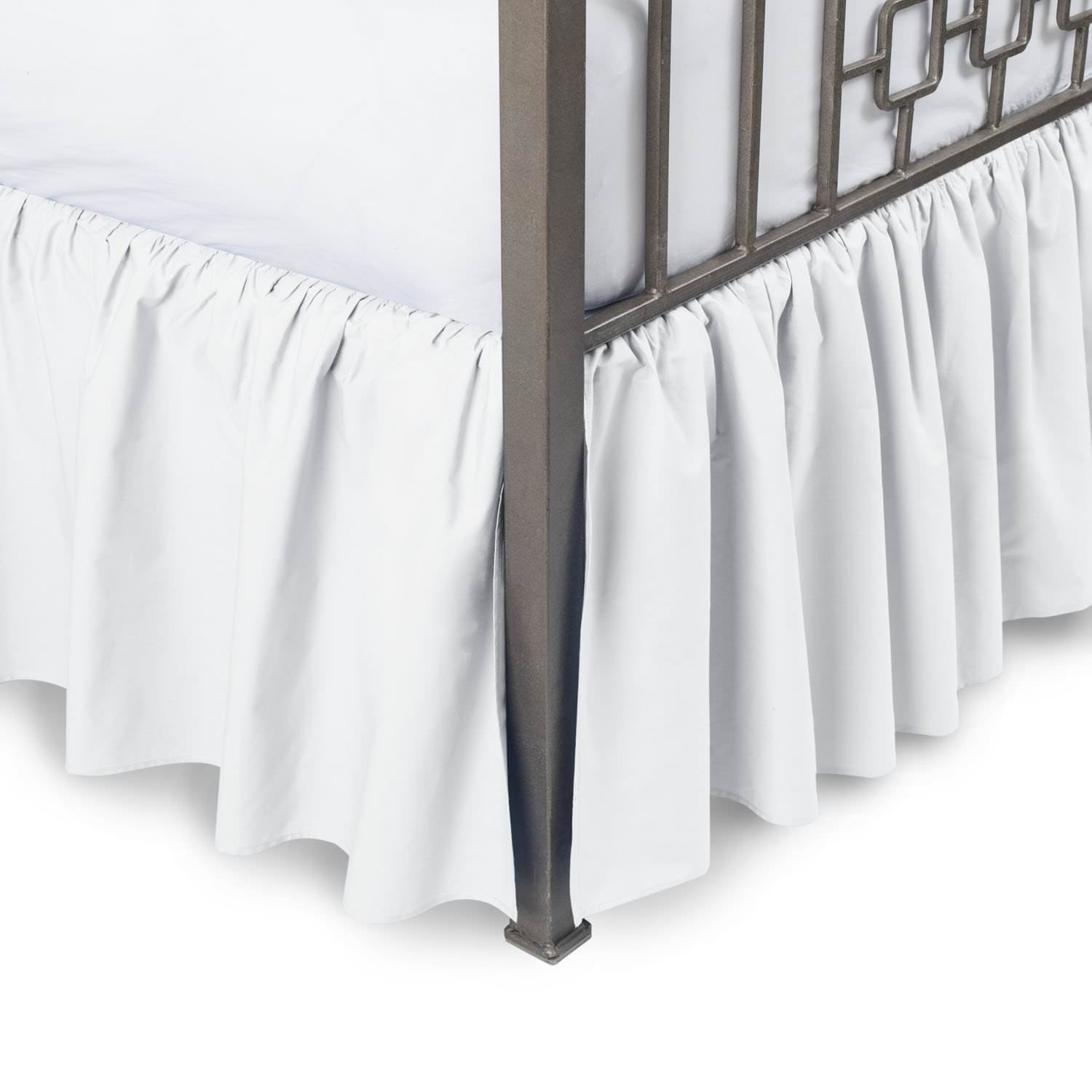 MD Home Decore White Solid, Queen Size Ruffled Bed Skirt, 16 Inch Drop with Split Corners 100% Cotton-600 Thread Count, Easy Fit Gathered Style, 3 Sided Coverage