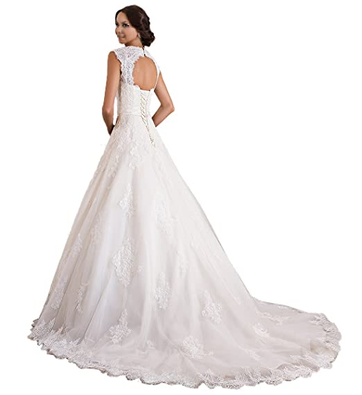 TBB Double V-neck Sleeveless Lace applique And Satin A-line Wedding Dress (White) at Amazon Womens Clothing store: