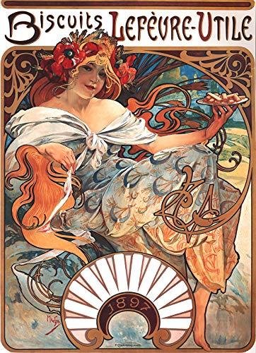 WholesaleSarong 1896 Biscuits Lefevre-Utile Alphonse Mucha Art Nouveau Poster Wall Poster Pretty Bedroom