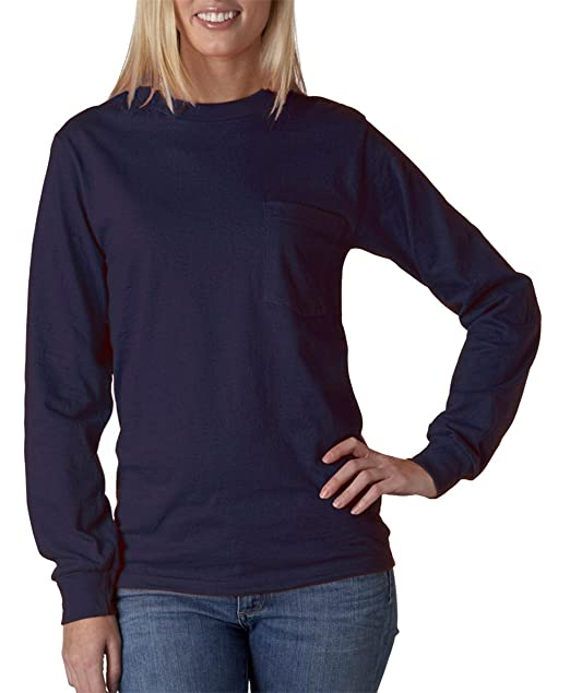 75ba062b9f7 Amazon.com  Gildan Adult 6.1 oz. Pocket Ultra Cotton Long-Sleeve T ...
