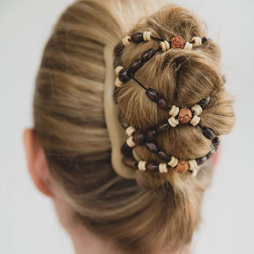 Magic Wooden EZ Stretchy Double Clips, Elegant Hair Clamp Comb Different hair styles SUNERLORY