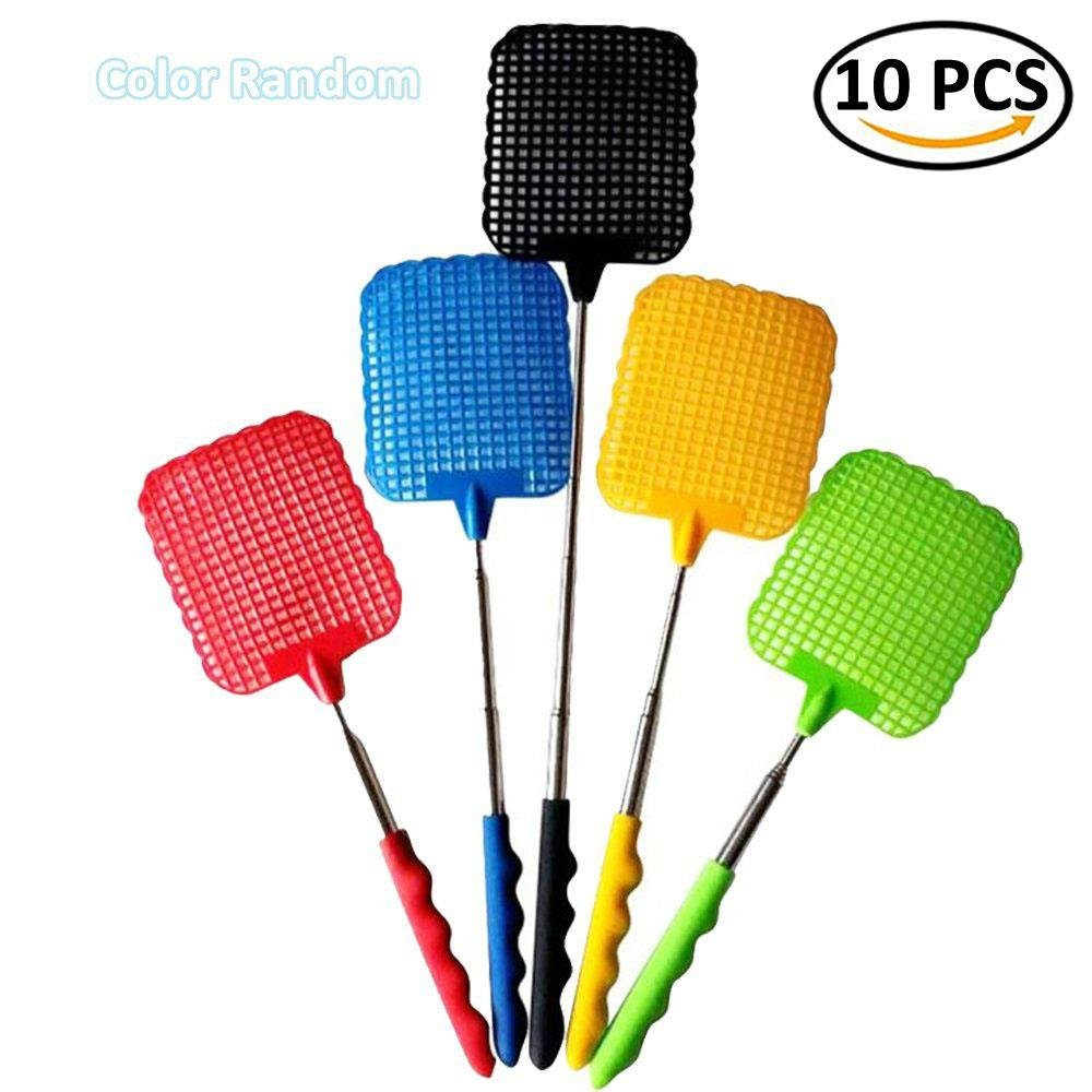 IYSHOUGONG 10 Pcs Plastic Swatter Telescopic Extendable Flapper Fly Prevent Pest Mosquito Tool,Color Random