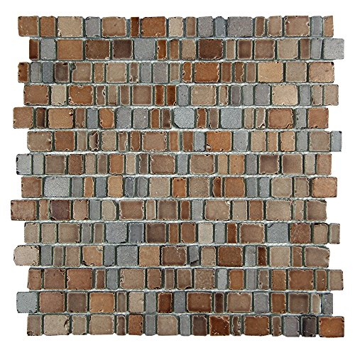 Ice Age Loire Rustic Glass Tile - Glass With Tan & Grey Brick Stone Finish - Perfect for Shower Walls, Kitchen Backsplashes, Floors (4 x 6 Inch Sample) ()