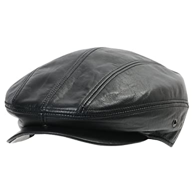 0c3ac5ca42fde9 ililily Genuine Leather Newsboy Flat Cap Cabbie Gatsby ivy Driver Hunting  Hat at Amazon Men's Clothing store: