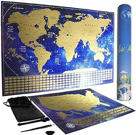 Urban Jungle Living Scratch Off USA and World Map Poster Set Blue
