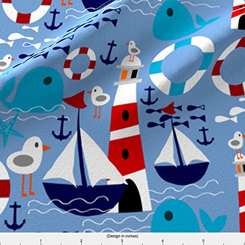 Kona Sailboat - Spoonflower Sailboat Fabric Sailboat by Bruxamagica Printed on Kona Cotton Ultra Fabric by the Yard