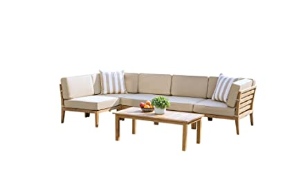 Groovy Madbury Road Bali 6 Piece Outdoor Teak Sectional Set Dailytribune Chair Design For Home Dailytribuneorg