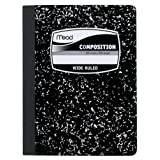 Mead Composition Book, Wide Ruled, 9.75 X 7.5 Inch Sheet Size, Black Marble, Bookbound, 100 Sheets-9910
