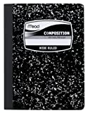 #6: Mead Composition Book, Wide Ruled, 9.75 x 7.50 Inch Sheet Size, Black Marble, Bookbound, 100 Sheets (09910)