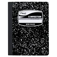 Mead Composition Book, Wide Ruled, 9.75 x 7.50 Inch Sheet Size, Black Marble, Bookbound, 100 Sheets (09910)