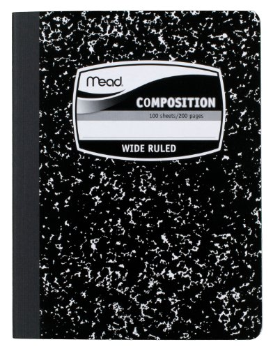 Mead Composition Book Wide Ruled 9.75 x 7.50 Inch Sheet Size Black Marble Bookbound 100 Sheets (09910)