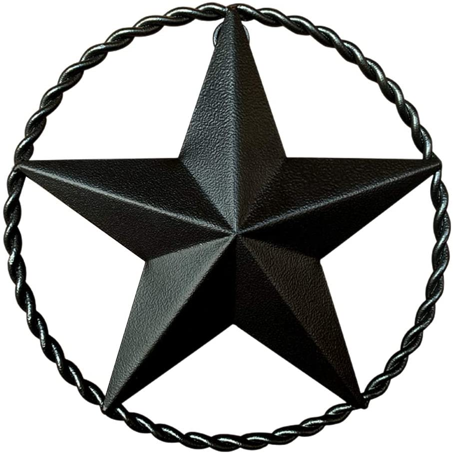 "Black Metal Wall Star – Barn Star, Metal Stars for Outside or Inside, Texas Star, Art Rustic Vintage Western Country Farmhouse Iron Wall Décor for House (9"" Twisted Rope)"