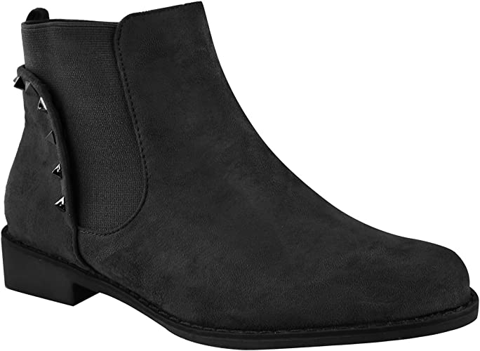 Women Ladies Ankle Pull On Chelsea Style Gusset Winter Warm Boots Size UK6 UK8