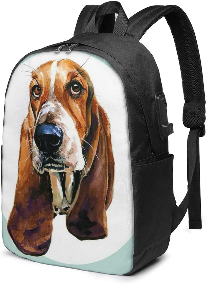 Funny Basset Hound Dog Mint Green Personality 17 Inch College School Computer Bag Laptop Backpack with USB Charging Port for Women Men College Student Travel Outdoor Camping Daypack