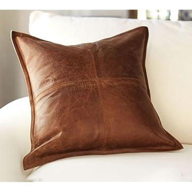 Koza Leathers Lambskin Leather Pillow Cushion Cover 16 x16  - 24 x24  (20 x20 )