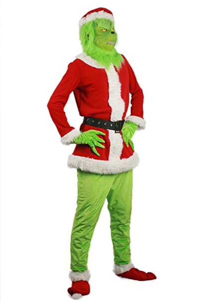 How The Grinch Stole Christmas Costumes.Grinch Costume Green Mask Santa Hat Shoes Halloween Cosplay Suit Christmas Outfit Prop