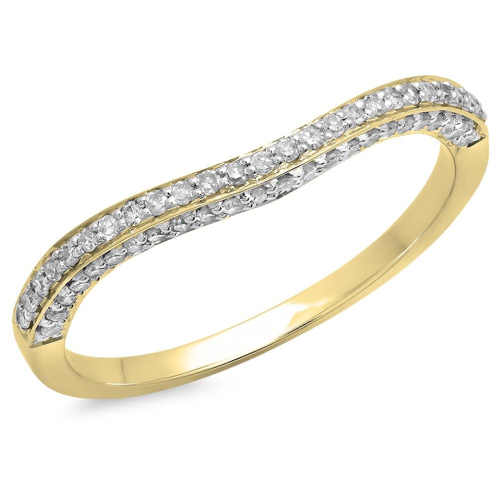 0.20 Carat (ctw) 14K Yellow Gold Diamond Stackable Wedding Contour Band Guard Ring 1/5 CT (Size 7)