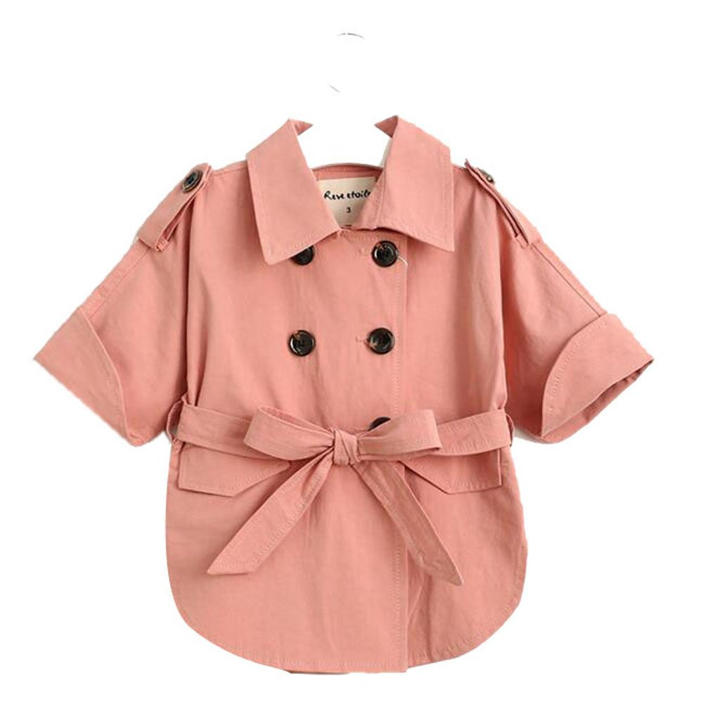 Pandamum Girl's Classic Long Jacket Trench Coat Windbreaker ''with a Tie'' (3T(height:95cm), Pink) by Pandamum